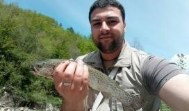 Trota Iridea catturata da Enzo Amura sul fiume Trebbia
