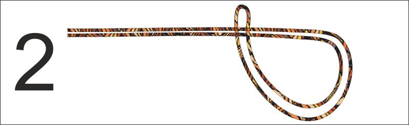 """Passo 2- Arrotolare il filo doppio piegando la """"U"""" su se stessa e incrociandola col doppio filo fino a formare una cerchio"""