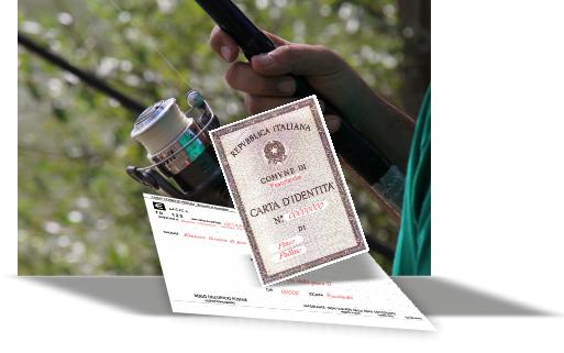 Rappresentazione licenza di pesca in campania con carta d'identità e ricevuta della tassa regionale